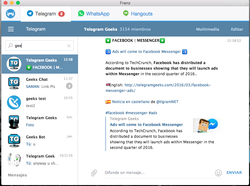 Franz: Messenger for Telegram, Whatsapp and other IM services
