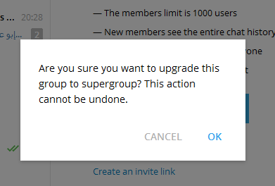 super group telegram upgrade