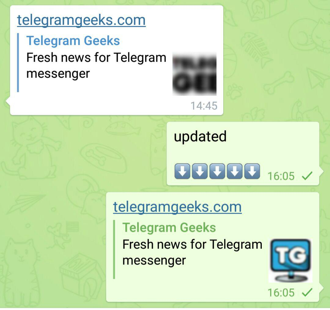 How to update channel link telegram cashe