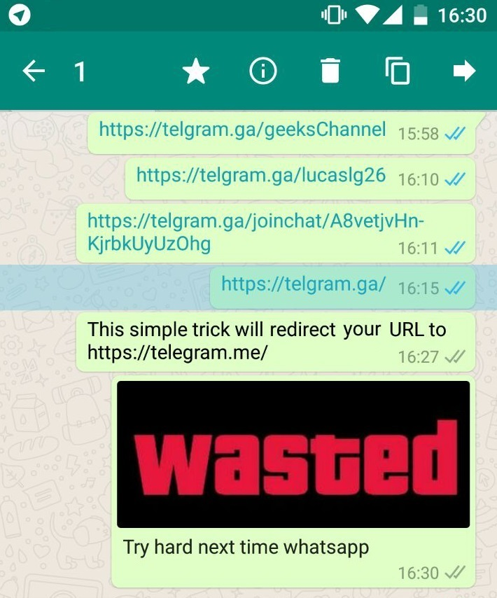 trick Whatsapp redirect to telegram
